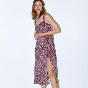 Zara Floral Print Sleeveless Midi Dress with Slit